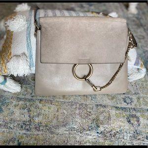 😍 Chloe Medium Faye Motty Grey Leather Suede Bag